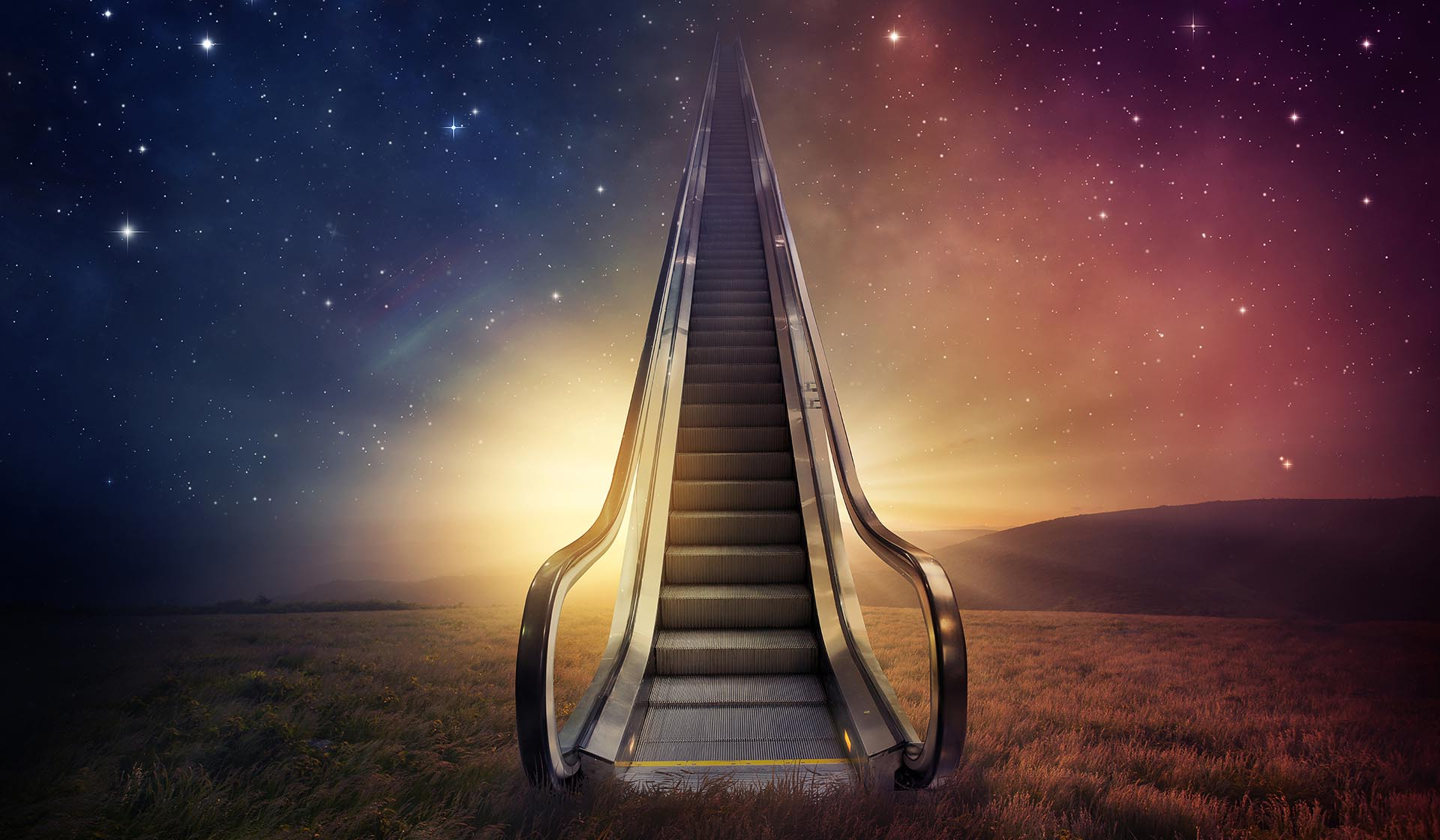 Image of an escalator leading to the stars. In this podcast, you'll be enlightened with the latest in marijuana news and more.